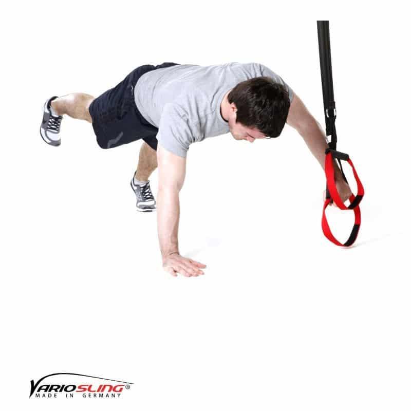 Sling-Trainer-Brustübungen-Push-up einbeinig, eine Hand am Griff-01