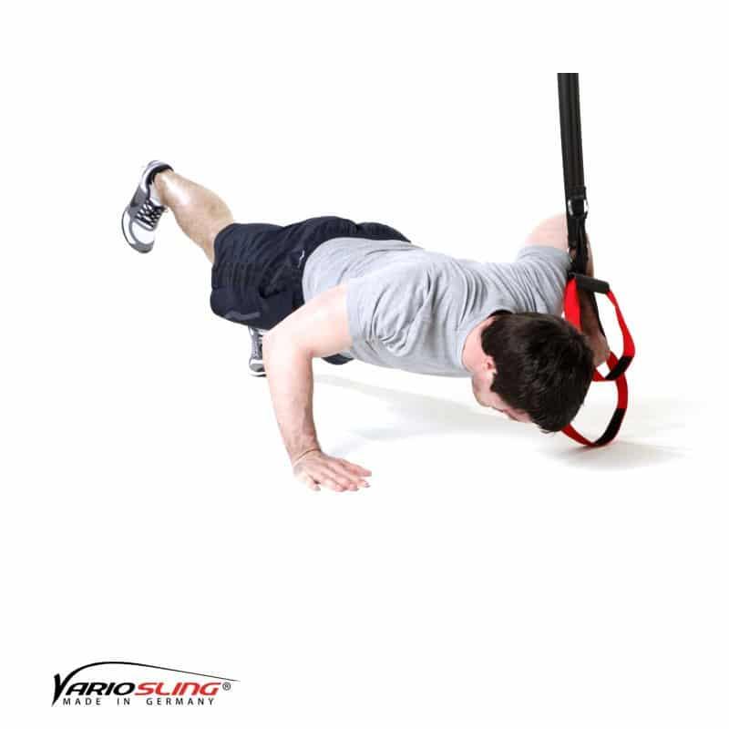 Sling-Trainer-Brustübungen-Push-up einbeinig, eine Hand am Griff-02