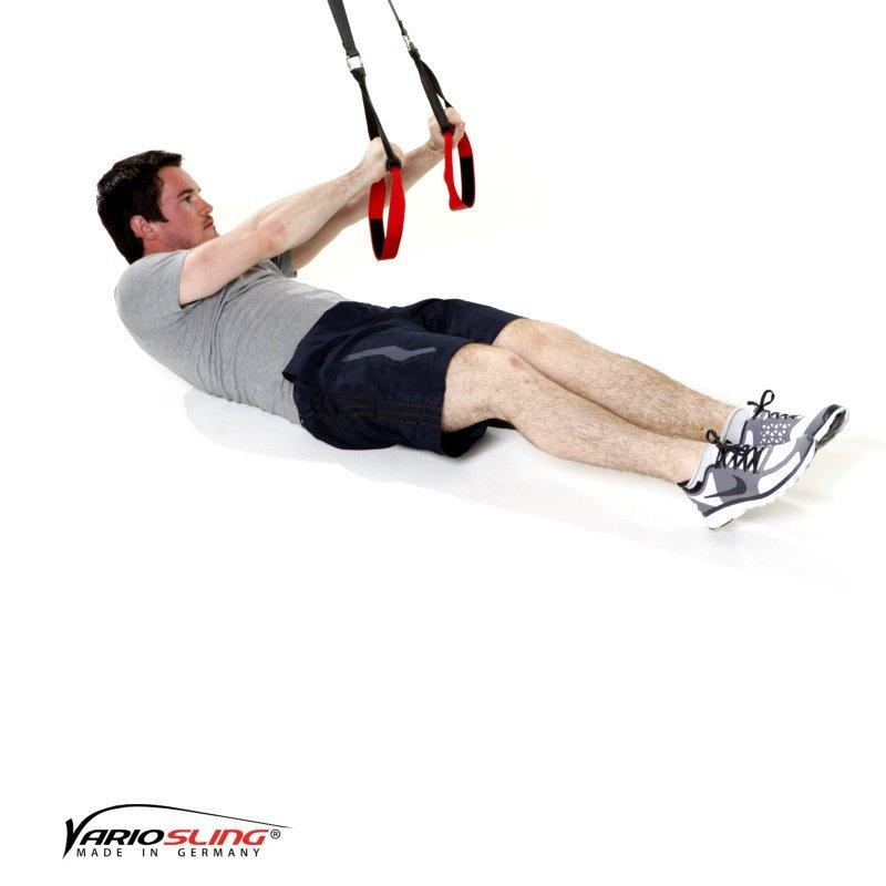 Sling-Trainer Bauchtraining Assisted Crunch Arme zur Seite mit Beine ranziehen 01