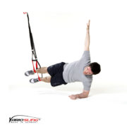 Sling-Trainer Bauchübung – Sidestaby ein Arm nach oben gestreckt