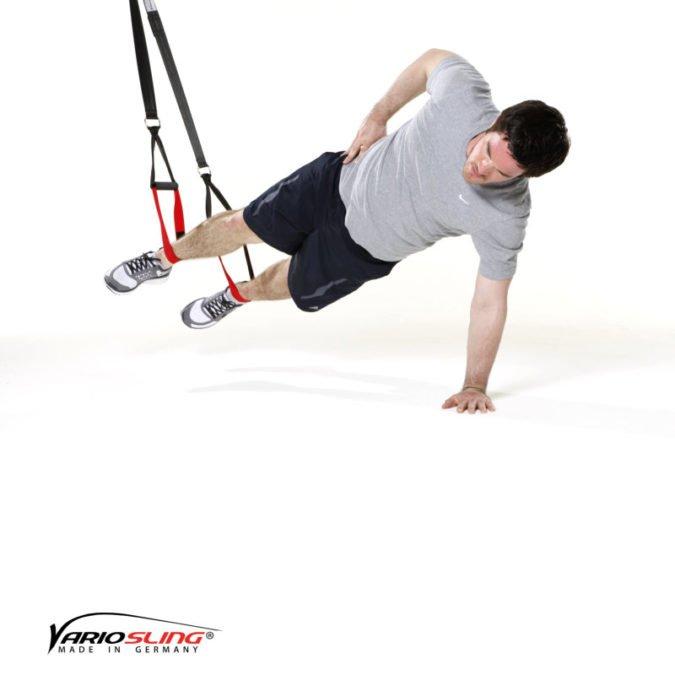 Sling-Trainer Übung - Sidestaby gestreckter Arm stützt